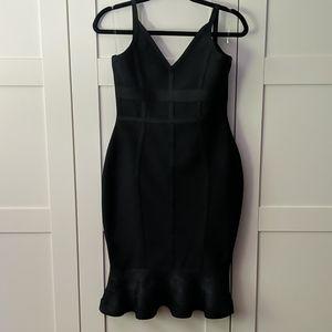 Black Bandage Bodycon Frill Hem Midi Dress